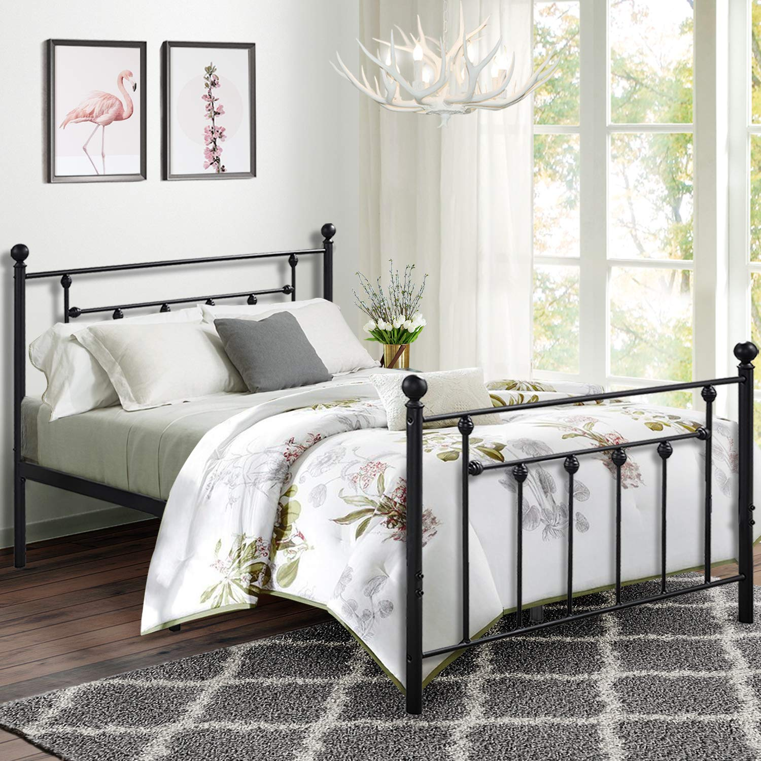 VECELO Queen Size Bed Frame, Metal Platform Mattress Foundation Box Spring Replacement with Headboard Victorian Style