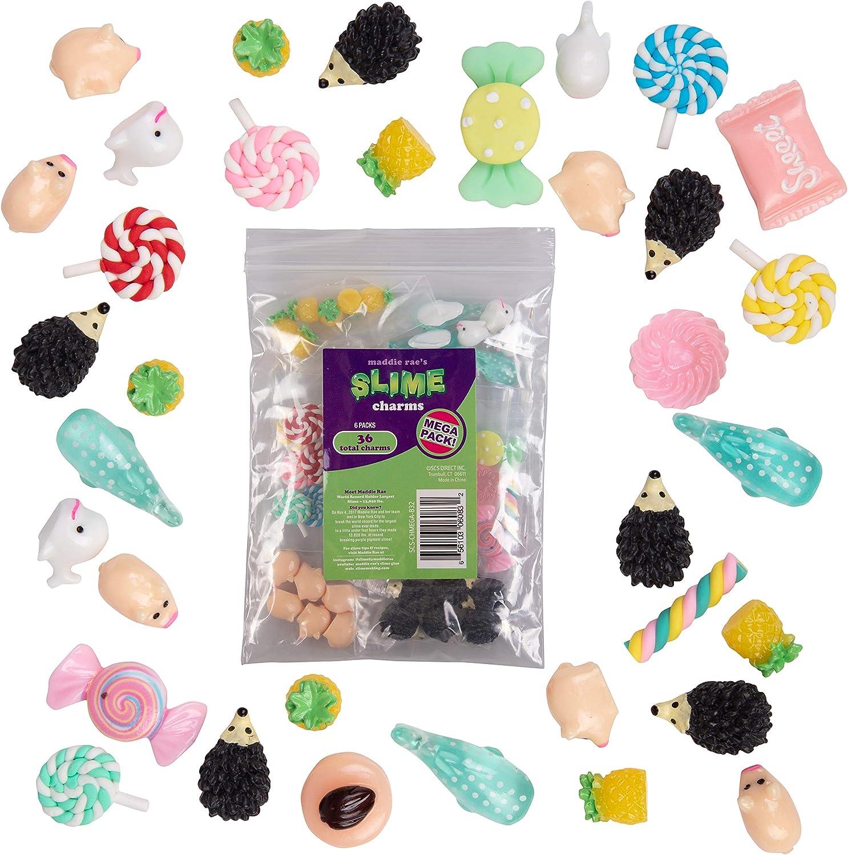 Maddie Rae's Slime Charms Mega Pack, (36pcs) Sweets, Pineapple, Lollipop, Hedgehog, Sharks, Pigs