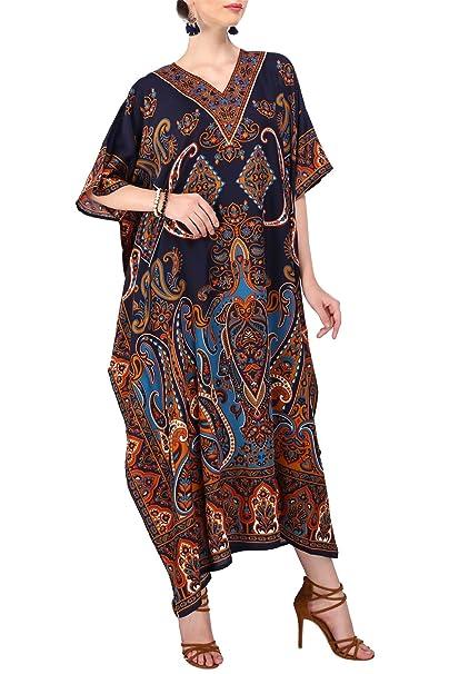 Miss Lavish London mujeres caftán de Londres túnica kimono libre tamaño largo vestido de fiesta para loungewear vacaciones ropa de dormir playa todos los ...