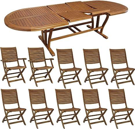 Milani Home S R L S Set Tavolo Giardino Allungabile Ovale 200 300 X 110 Con 8 Sedie E 2 Poltrone In Legno Di Acacia Massiccio Per Esterno Giardino Amazon It Giardino E Giardinaggio