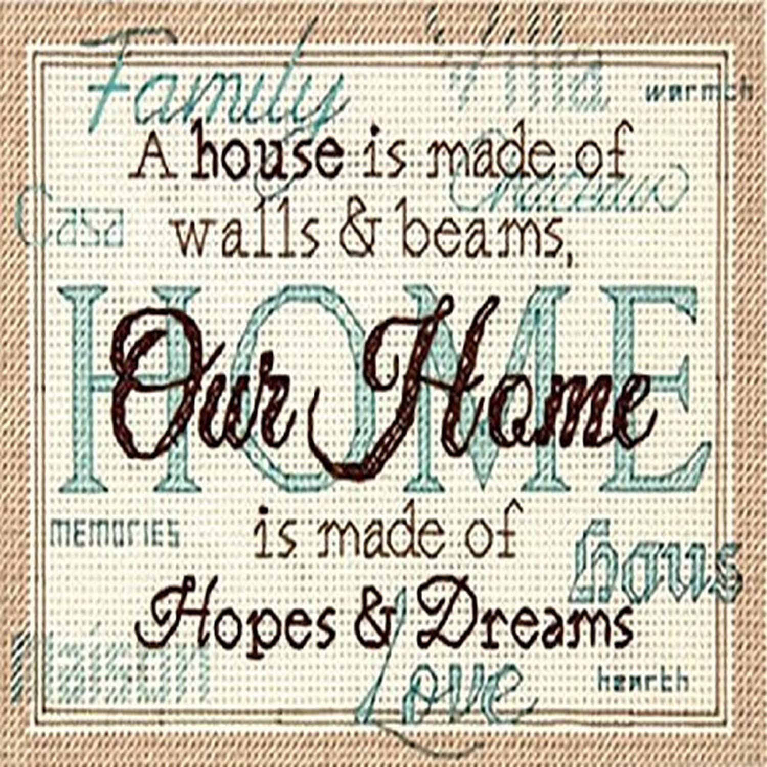 "DIMENSIONS ""Our Home Decorative Counted Cross Stitch Kit, 7"" x 5"""