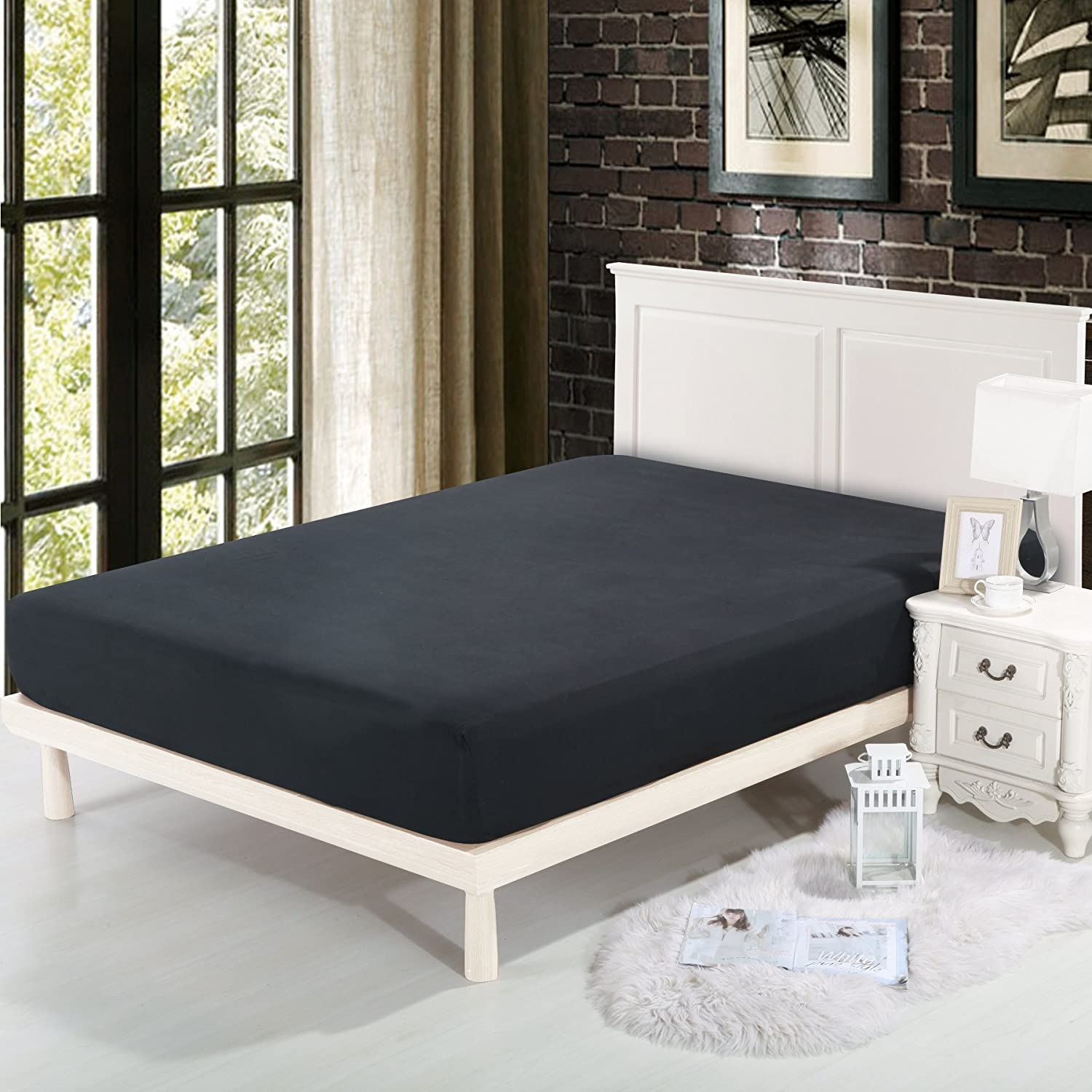 Twin, Black One Fitted Bed Sheet Double-Side Brushed Finish Lullabi Bedding Microfiber Fade Stain Resistant Wrinkle