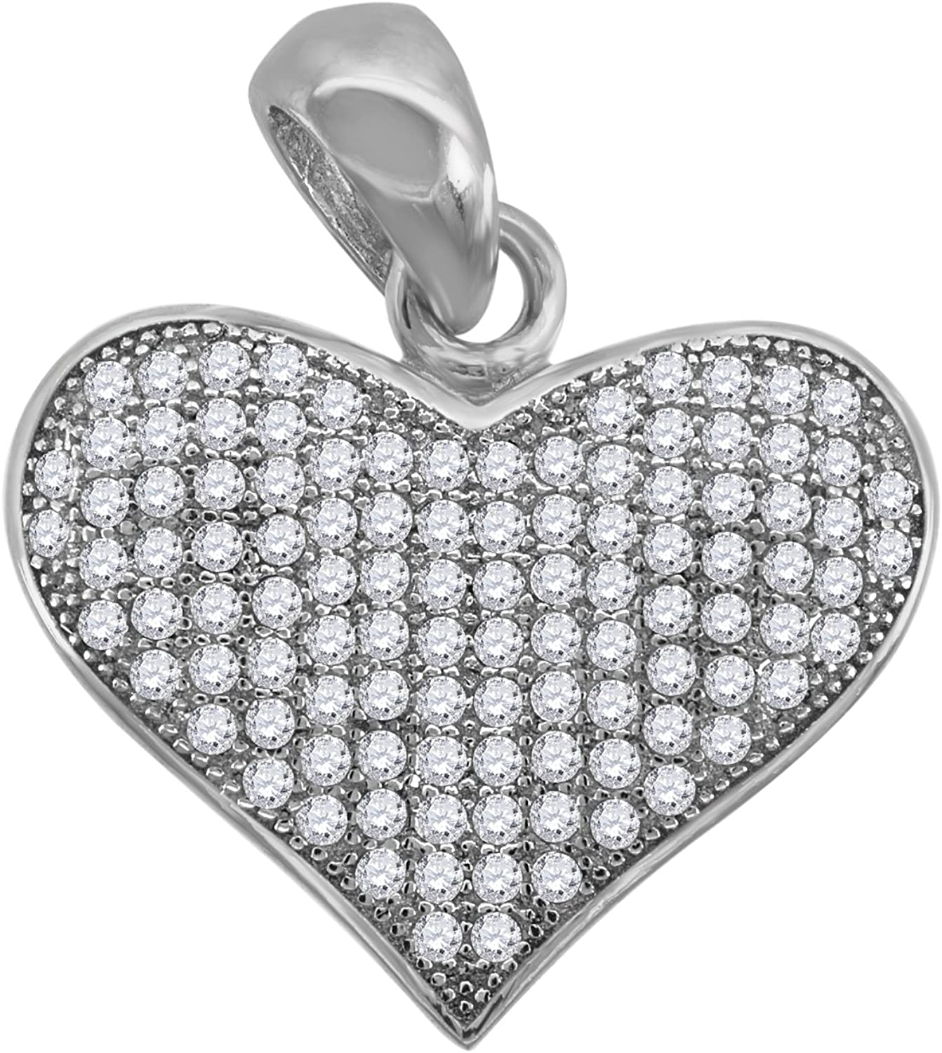 Saris and Things 925 Sterling Silver Womens Round Cubic Zirconia CZ Heart Fashion Charm Pendant