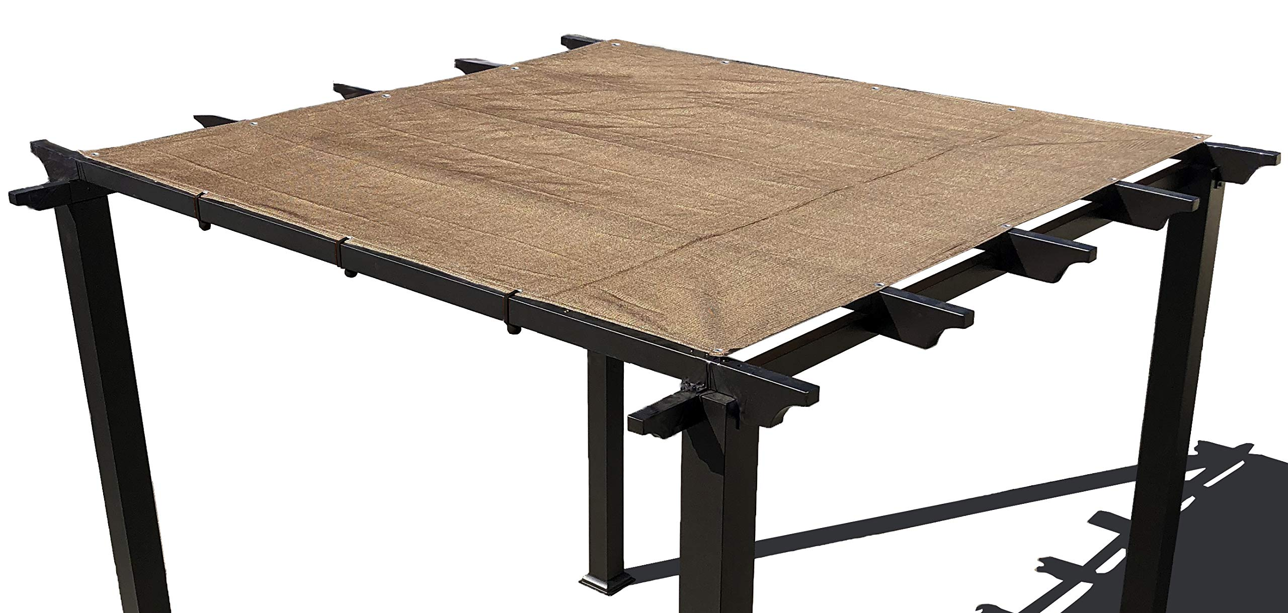 Alion Home Pergola Shade Cover Sunblock Patio Canopy HDPE Permeable Cloth with Grommets (12' x 12', Walnut)