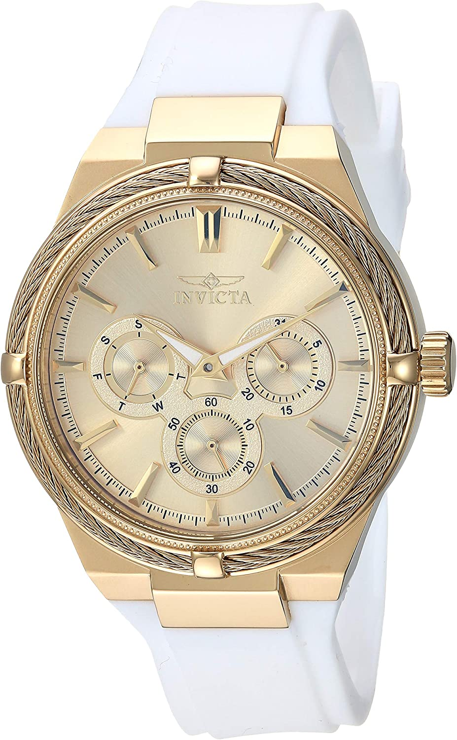 Invicta Women s Bolt Stainless Steel Quartz Polyurethane Strap, White, 17.7 Casual Watch Model 28910