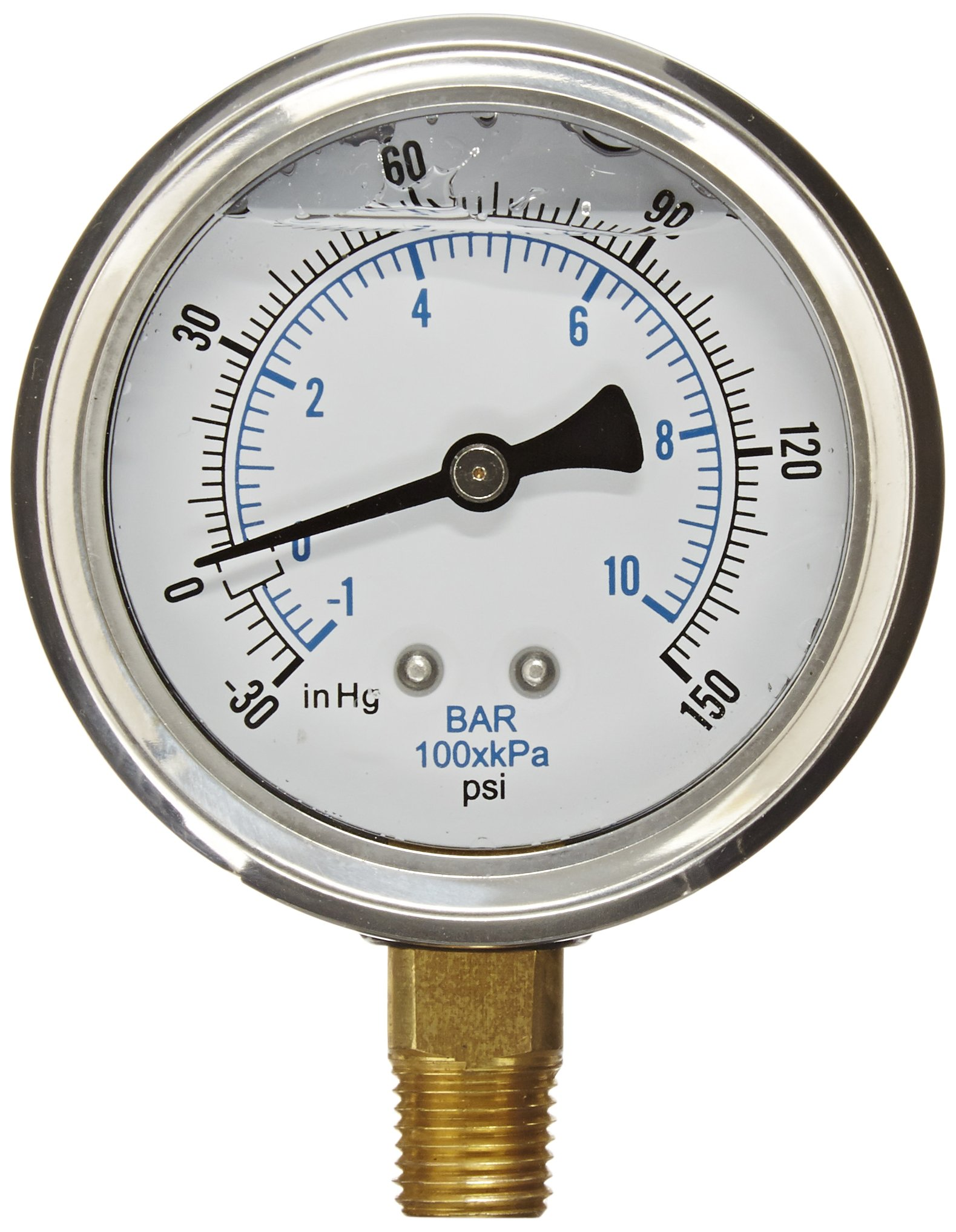 PIC Gauge PRO-201L-254CF Glycerin Filled Industrial Bottom Mount Pressure Gauge with Stainless Steel Case, Brass Internals, Plastic Lens, 2-1/2'' Dial Size, 1/4'' Male NPT, 30/0/150 psi