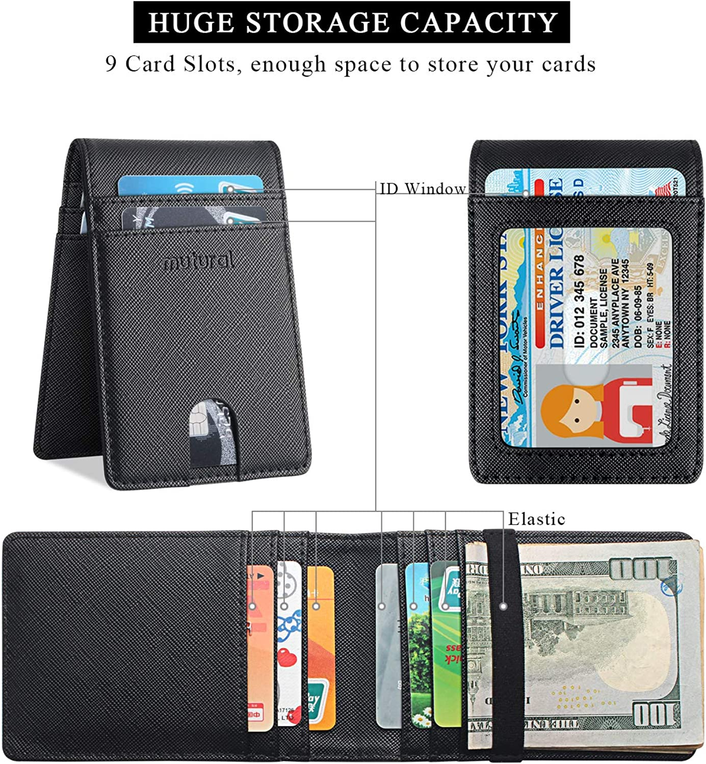 Bifold Slim Wallet-Mutural Minimalist Leather Front Pocket Card Cases Wallets with RFID Blocking for Men Women