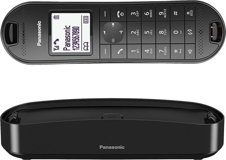 Panasonic KX-TGK310 - Teléfono fijo inalámbrico de diseño (LCD, identificador de llamadas, agenda de 120 números, bloqueo de llamada, modo ECO Plus), color negro