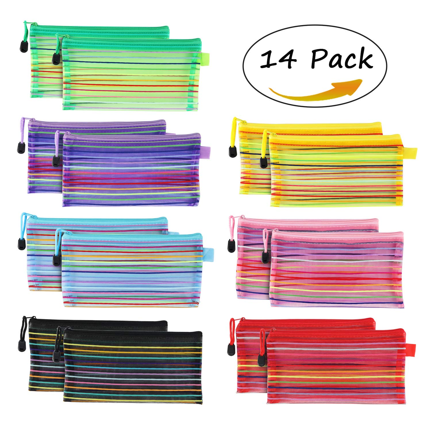 A6 Size Zipper Mesh Pouch, SEEOOR 7 Colors Multipurpose Travel Bag for Cosmetics Offices Supplies/Personal Supplies/Travel Accessories (14 Pieces)