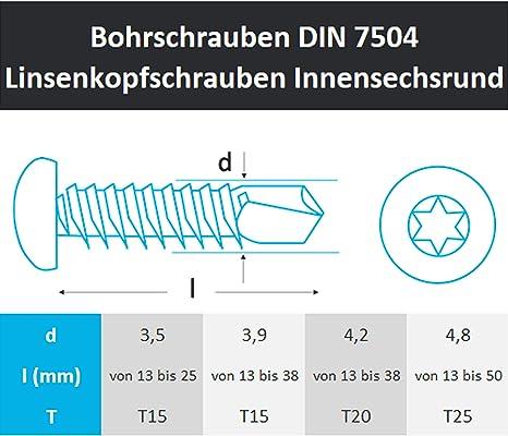 200 St/ück Bohrschrauben 3,5x16 mm Edelstahl A2 mit Senkkopf selbstschneidend DIN 7504 O TX 15