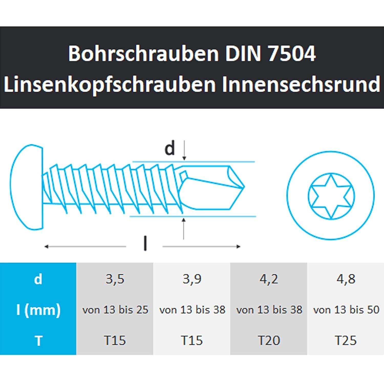 PROTECH Bohrschrauben Form M TORX 4,8x22 DIN 7504 200 St/ück Edelstahl A2 V2A Rostfrei Blechschrauben/Linsenkopfschraube
