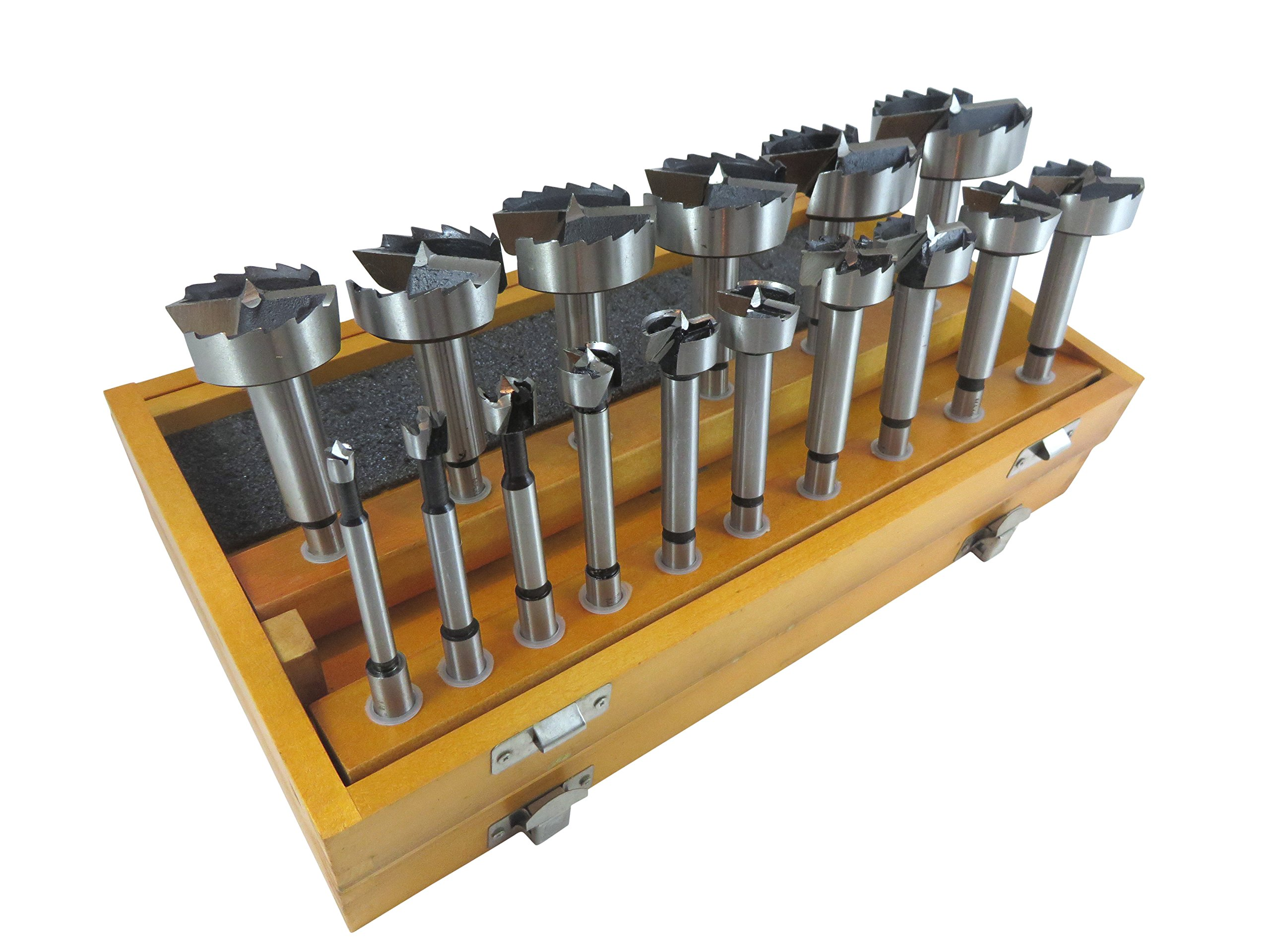 16 Piece Forstner Drill Bit Set with Bits from 1/4'' to 2-1/8'' by 1/8ths Hardened Carbon Steel in Wooden Storage Box 402005 by Taytools