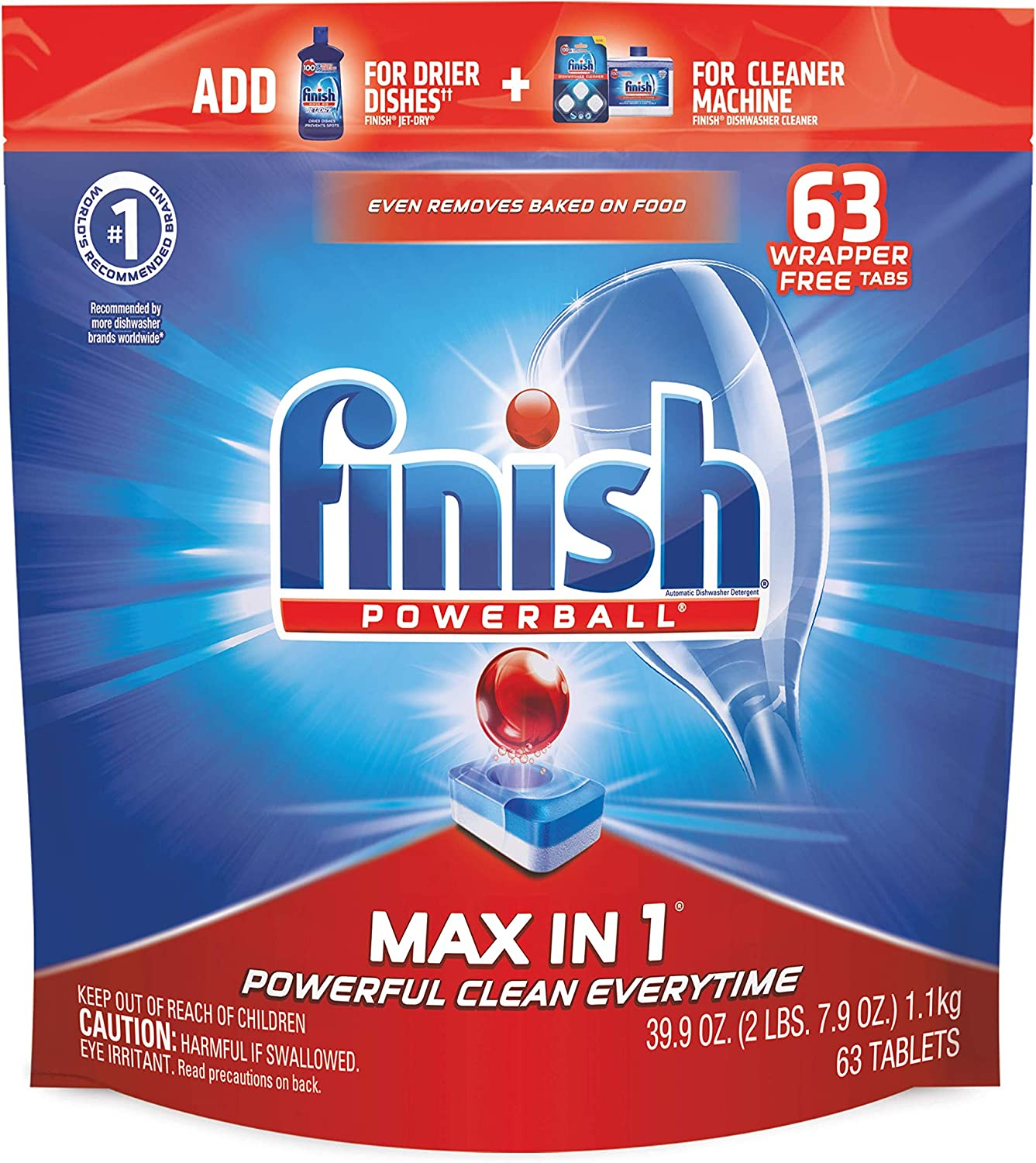 Finish - Max in 1 - 63ct - Dishwasher Detergent - Powerball - Dishwashing Tablets - Dish Tabs