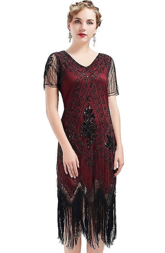 Vestido con Cuello en V con Flecos y Lentejuelas 20s Vestido Disfraces Gran Gatsby Vestido con Cuentas Vintage