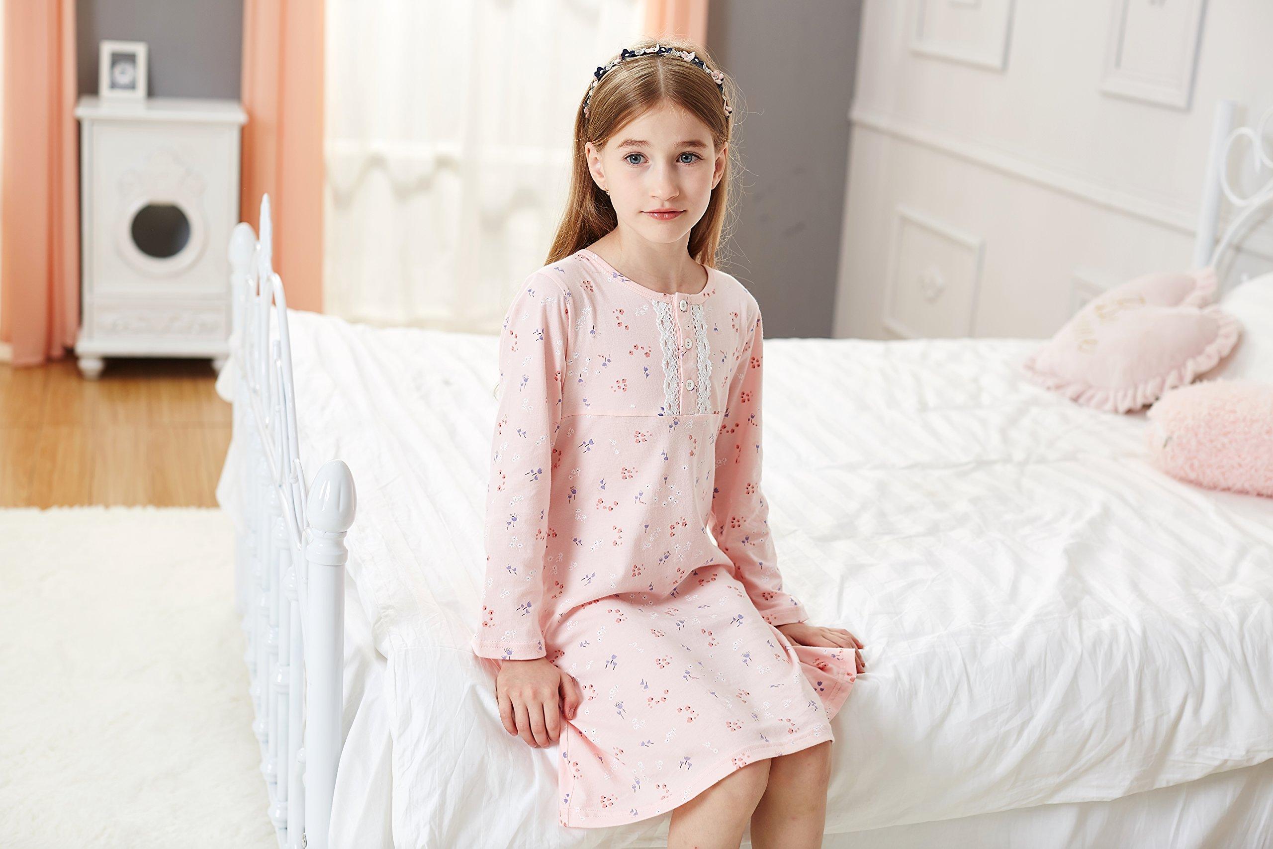 38698862b887 Allmeingeld Girls  Princess Nightgowns Lace Sleep Shirts 100% Cotton  Sleepwear for 3-10 Years (6-7 Years
