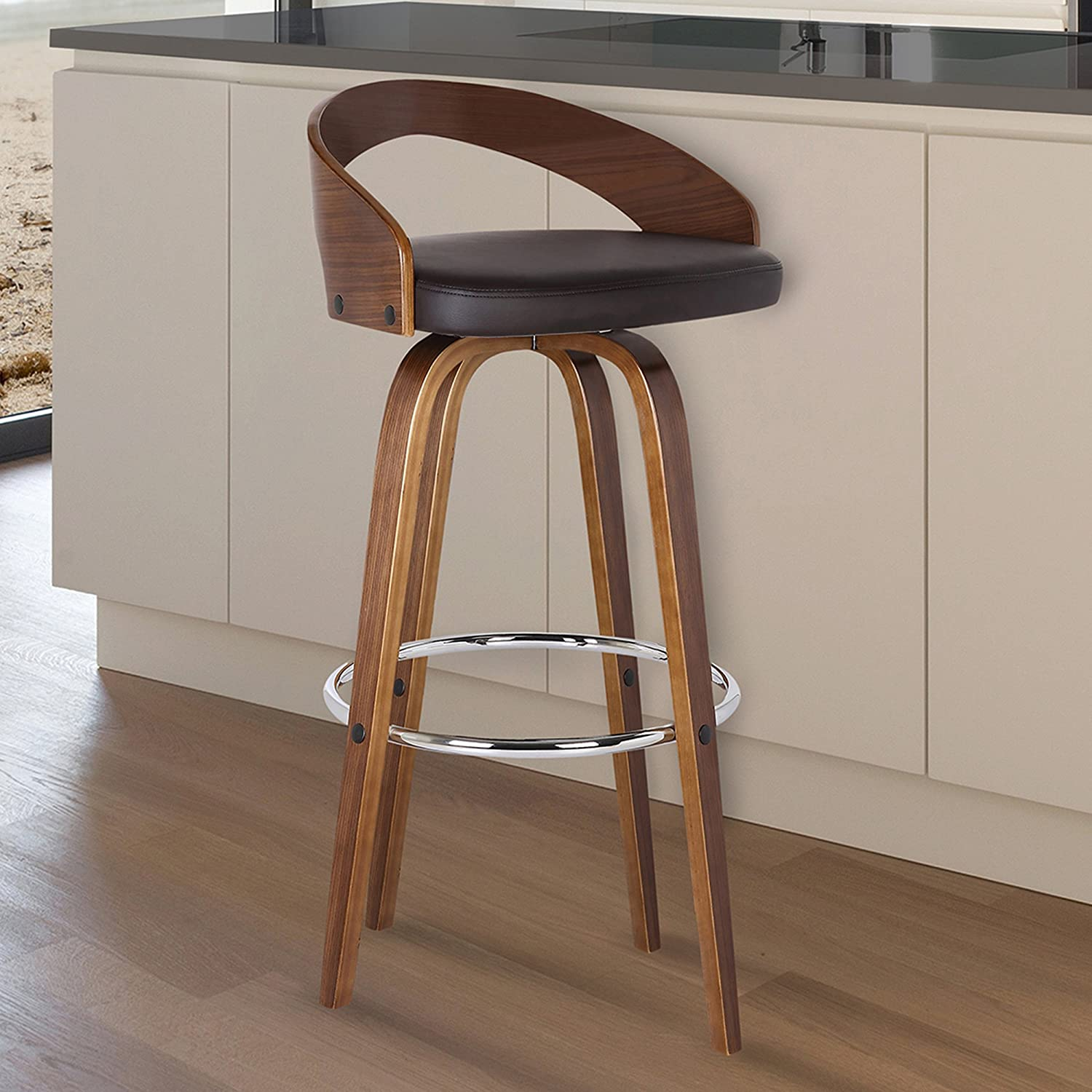 "Armen Living LCSOBABRWA26 Sonia 26"" Counter Height Barstool in Brown Faux Leather and Walnut Wood Finish"
