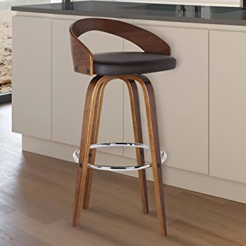 Exceptional Armen Living LCSOBABRWA26 Sonia 26u0026quot; Counter Height Barstool In Brown  Faux Leather And Walnut Wood