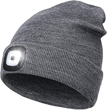 Unisex Knitted LED Headlamp Cap with Headphone Built-in Stereo Speakers/&Mic,USB Rechargeable Headlight Winter Warm Gifts for Men Dad Him Women Running,Fishing Upgraded Bluetooth Beanie Hat with Light