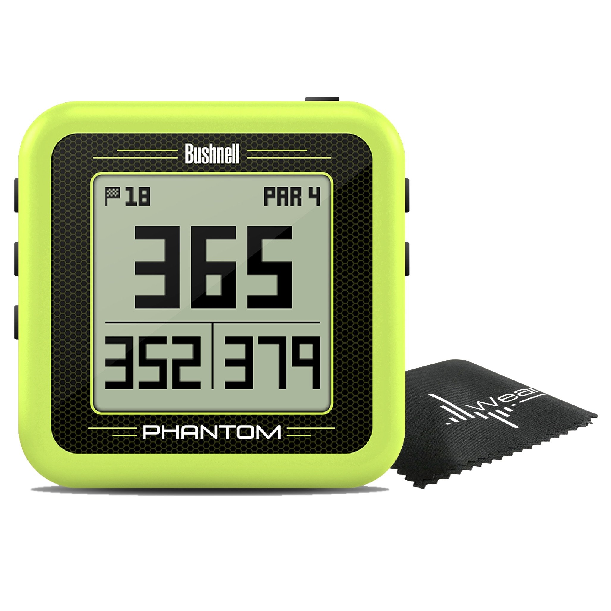 Bushnell Phantom Compact Handheld Golf GPS with Built-In Golf Cart Magnet and Wearable4U towel (Green)