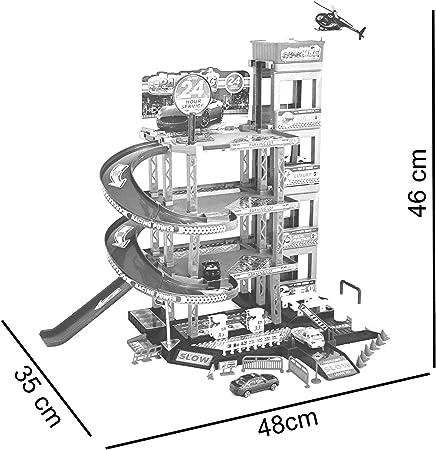 Park Garage juguete infantil para coche Garaje Aparcamiento Garage incl. 4coches de juguete y helicóptero Parte de Juego con, de gasolinera fahrstuhl, waschstraße y taller