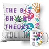 meSleep Bhang Theory Holi Cushion Cover with Filler (14x14 Inches | 35x35 CM) and Ceramic Mug