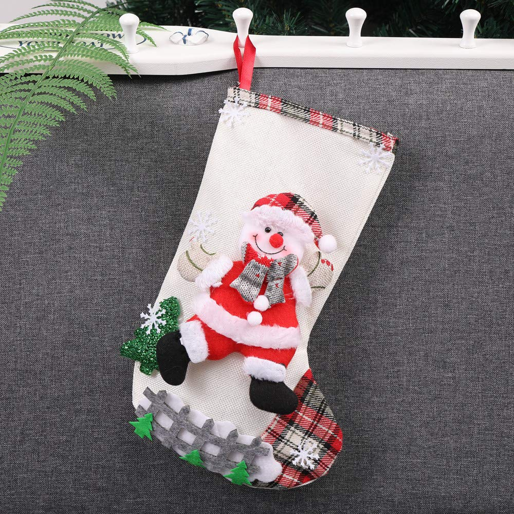 Chenway Christmas Tree Stocking Sock Hanging Ornaments   Santa Snowman Beer Fashion Candy Bag Festival Party Xmas Tree Decoration   Gift Chilren,Women,Baby Girl,Adults (Beige)