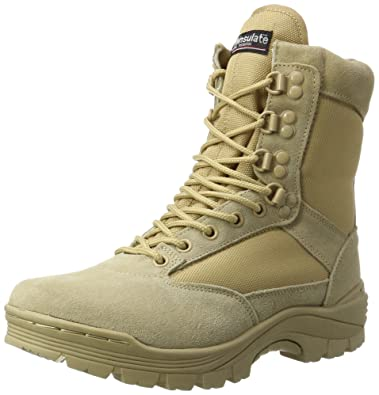 7b7859cc846 Amazon.com: Mil-Tec Tactical Army Boots with YKK Side Zipper - Suede ...