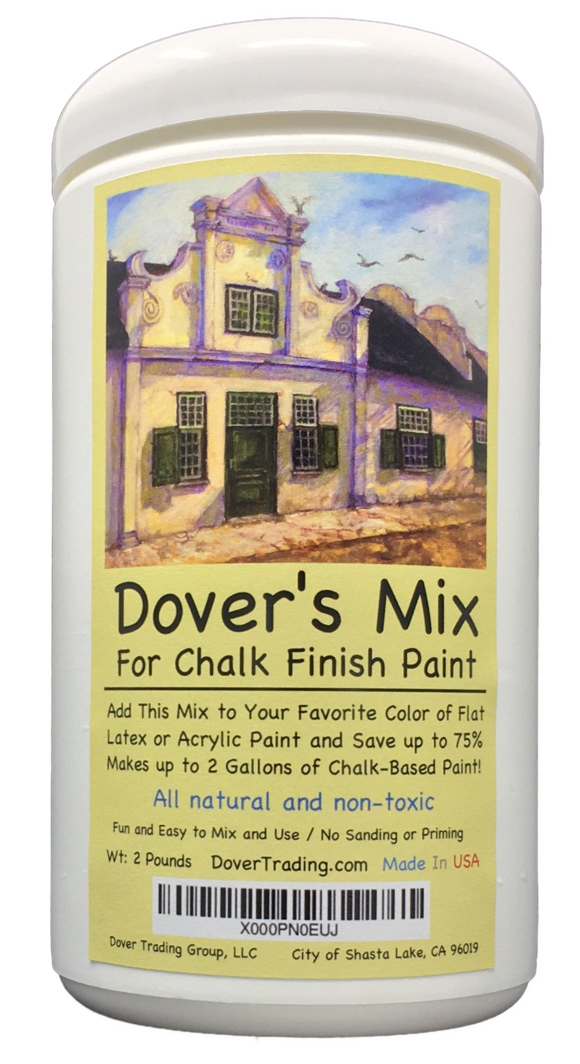 Chalk Finish Paint Mix by Dover's - Add to Any Color of Flat Latex or Acrylic Paint to Make up to 2 Gallons of Inexpensive Chalk Furniture Paint - All Natural and Non-Toxic by Dover's Chalk Paint Mix