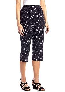 Kim Rogers Women/'s Super Stretch Woven Capri Pants White Coral size 4 to 20