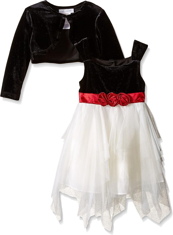 Bonnie Jean Girls' Cascade Dress with Shrug Two-Piece Set