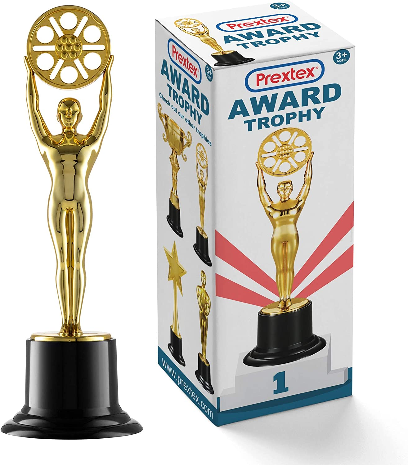 Prextex 10-Inch Gold Movie Buff Award Trophy for Trophy Awards and Party Celebrations, Award Ceremony, and Appreciation Gift, : Sports & Outdoors