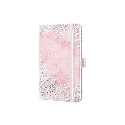 Sigel J9308 Agenda semanal Jolie 2019, tapa dura, 9,5 x 15 cm, diseño flores de encaje rosa
