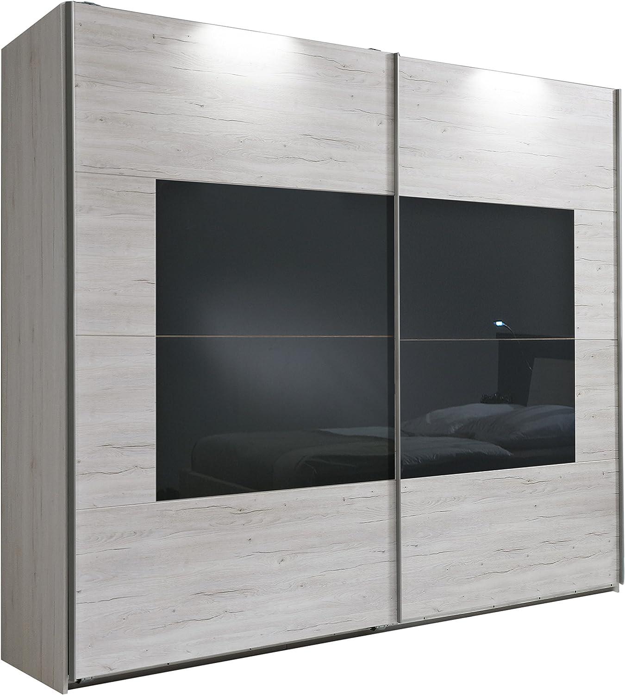 Wimex 790864 Armario con Puertas correderas Istrien 225 x 210 x 65 cm, imitación Madera de Roble Blanca, con Puntas de Gris: Amazon.es: Hogar