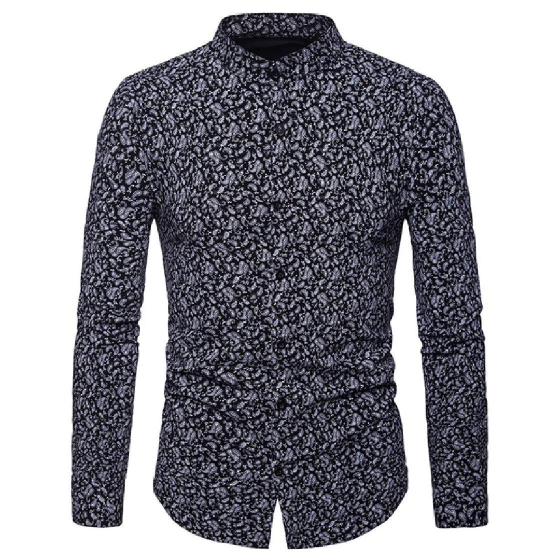 YUNY Mens Long-Sleeve Spring//Fall Floral Casual Stand Collar Shirt Black S