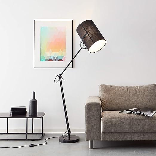 Práctica lámpara de pie de lectura, 1 x E27 máx. 40 W de metal/textil en negro con base de mármol.: Amazon.es: Iluminación