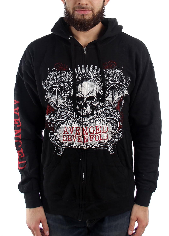 Avenged Sevenfold Ornate Skull Mens Zip Hoodie 7A250