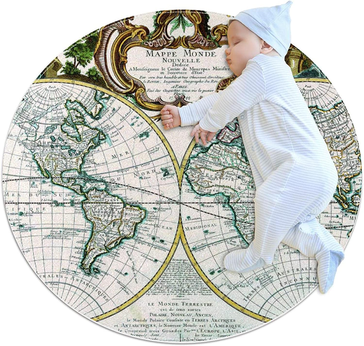 Retro Nautical Map Round Area Rugs Super Soft Carpet Best Gift for Kids to Decorate Living Room Bedroom Home Office 3feet 4inch