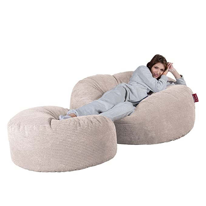 Lounge Pug®, Puff Gigante Mega-Mamut, Pompón - Crema ...