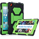 KIDSPR Fire HD 8 Case 2016, Silicone [Protective] Shockproof Kids proof Impact Resistant Outdoor Gift Cases Covers with Stand for 2016 Release Amazon Fire 8 Inch Tablet (2016 Only)(Black Green)
