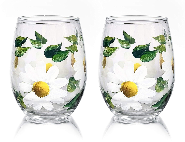 Hand Painted Wine Glasses Flower Wine Glasses Wine Lover Gift Wine Glasses