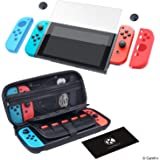 CamKix Grip and Protection Kit Compatible with Nintendo Switch: Nylon Case with 20 Game Card Inserts, Tempered Glass Screen Protector, Joy Con Covers, Thumb Grip Cover, Cleaning Cloth