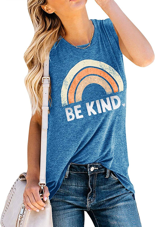 IRISGOD Womens Be Kind Tank Tops Casual Short Sleeve Rainbow Inspirational Graphic Tees Tops