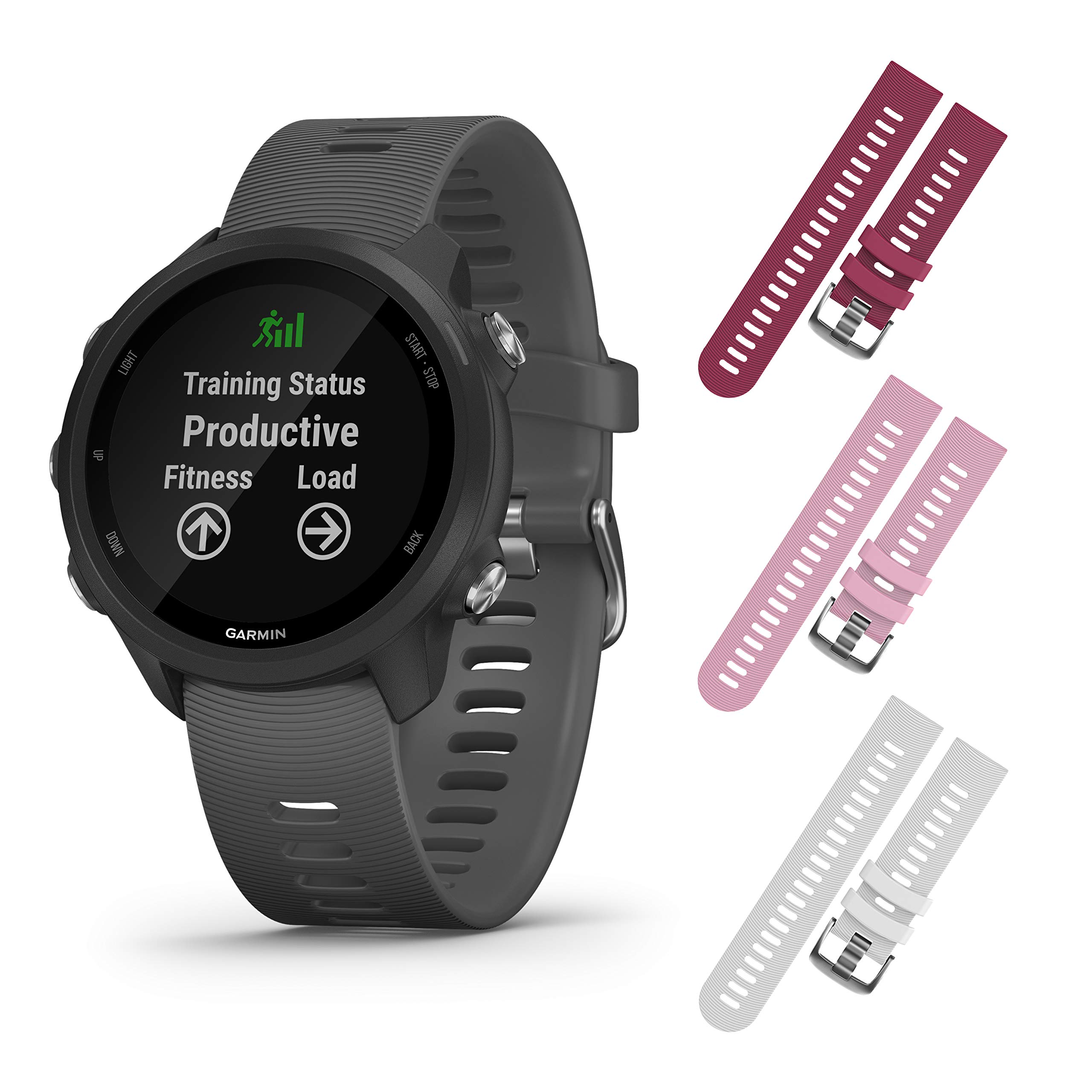 Garmin Forerunner 245 GPS Running Smartwatch with Included Wearable4U 3 Straps Bundle (Slate Grey 010-02120-00, Berry/Pink/White)