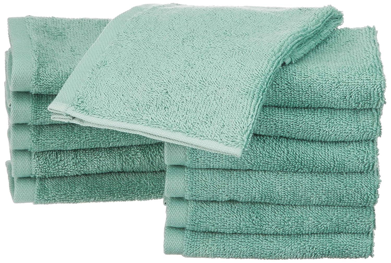 AmazonBasics - Toallas de algodón, 12 unidades, Verde espuma de mar: Amazon.es: Hogar