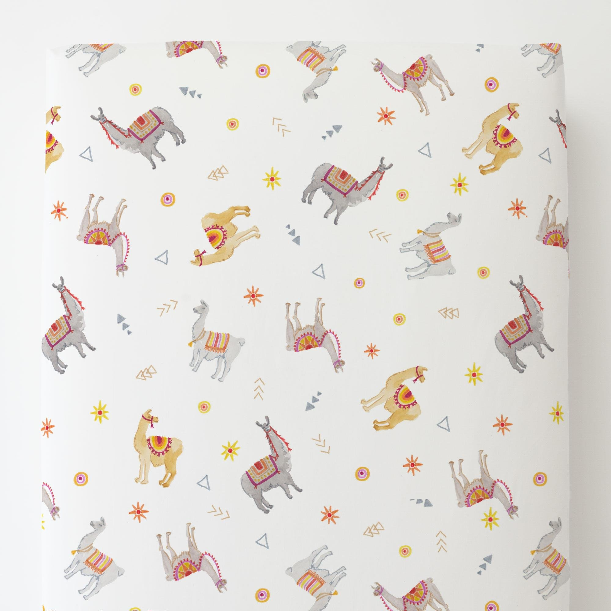 Carousel Designs Festive Llamas Toddler Bed Sheet Fitted