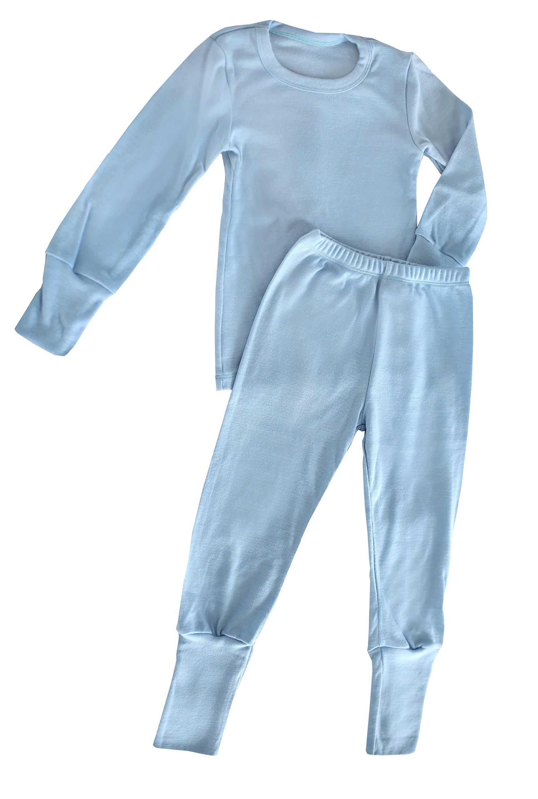 Green Rose Kid's Pyjamas Set Girl Boy Unisex Toddler Nightwear PJs Pajama 100% Merino Wool 1 Year - 9 Year (Light Blue, 134/140 cm 7-9 Years)