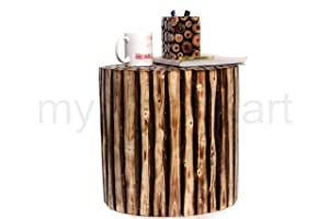 myWoodKart Wooden Round Shape Stool/Table Made from Natural Wood Blocks 16 inch