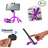Gekkopod Pro Smartphone Mount Now with Selfie Remote - Portable and Flexible Smartphone Stand And GoPro Tripod Wrap, Hung and Clung Practically Anywhere Compatible with all Cellphones (Pink)