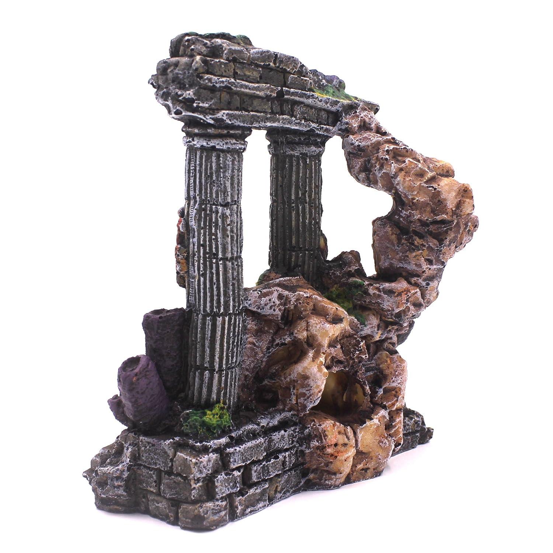 M2cbridge Aquarium Background Column Rock Ruins Plants Decor