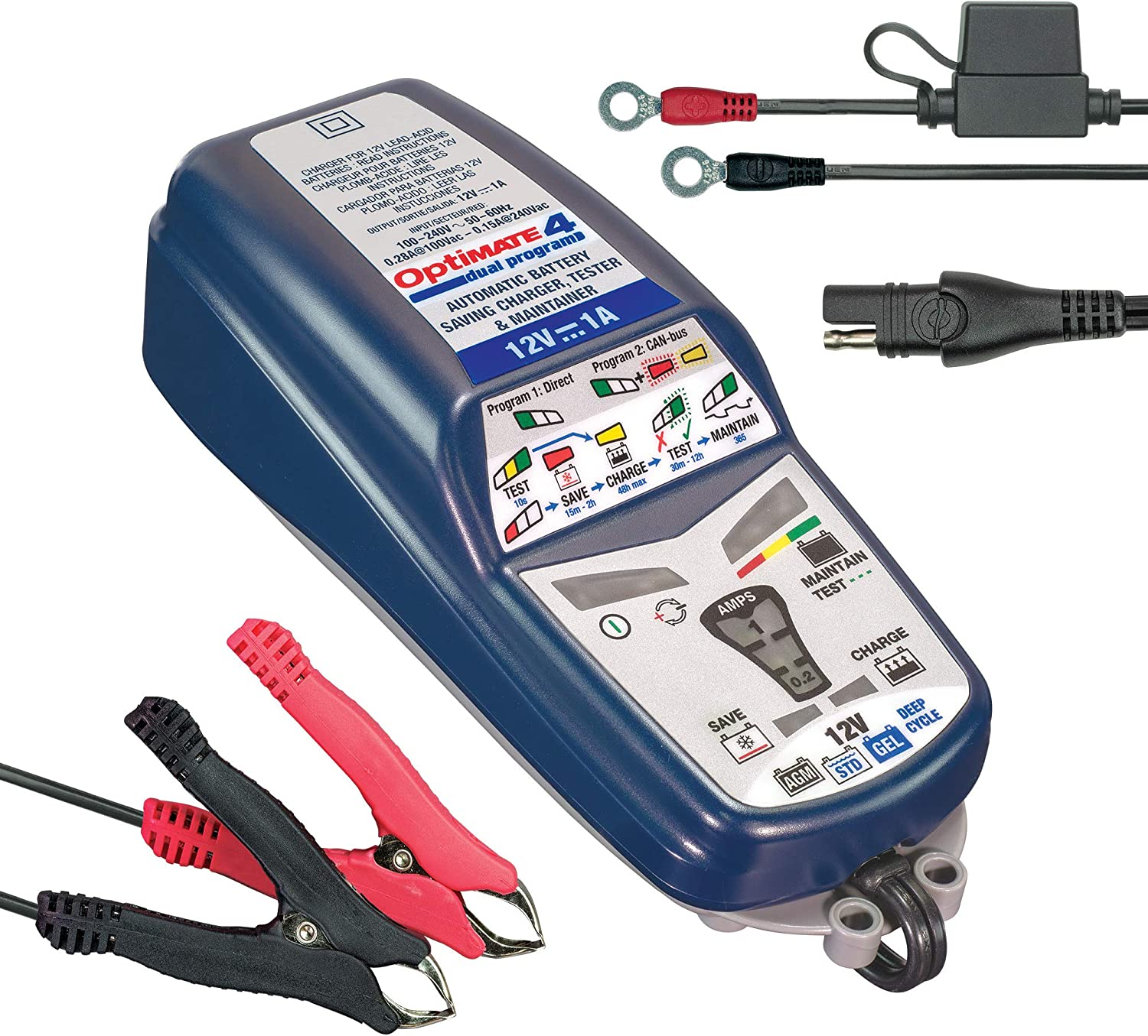TecMate OptiMATE 4 DUAL Program, TM-341, 9-step 12V 1A sealed battery saving charger & maintainer